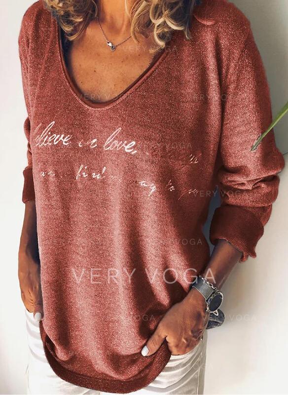 Figure Imprimé Col Rond Manches Longues T-shirts
