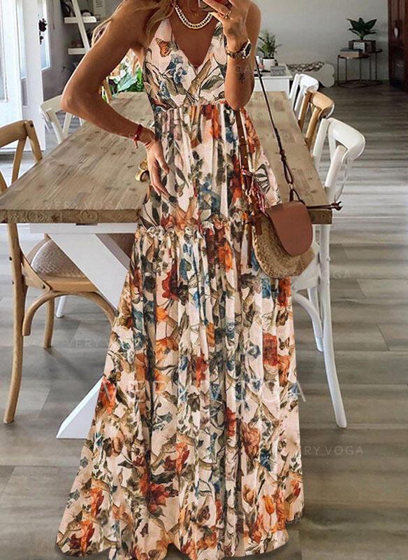 Εκτύπωση/Φλοράλ Αμάνικο Φαρδύ Κάτω Фігурист Καθημερινό Μάξι Сукні