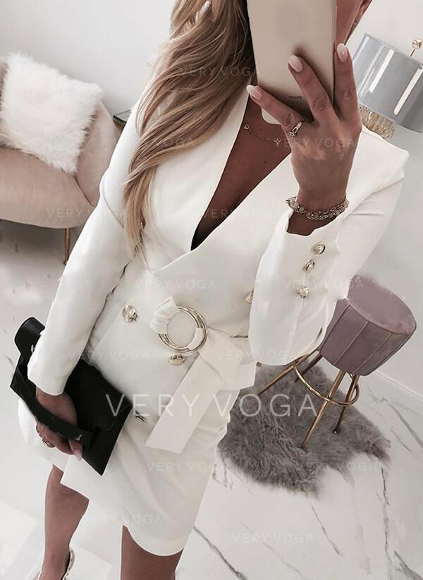 Egyszínű Hosszú ujjú Testre simuló ruhák Térd feletti Hétköznapokra/Elegáns φορέματα