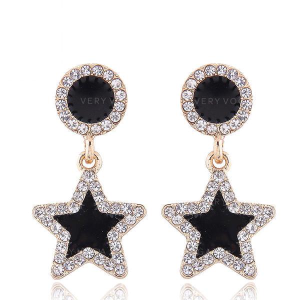 Star Shaped Alloy Rhinestones Women's Earrings