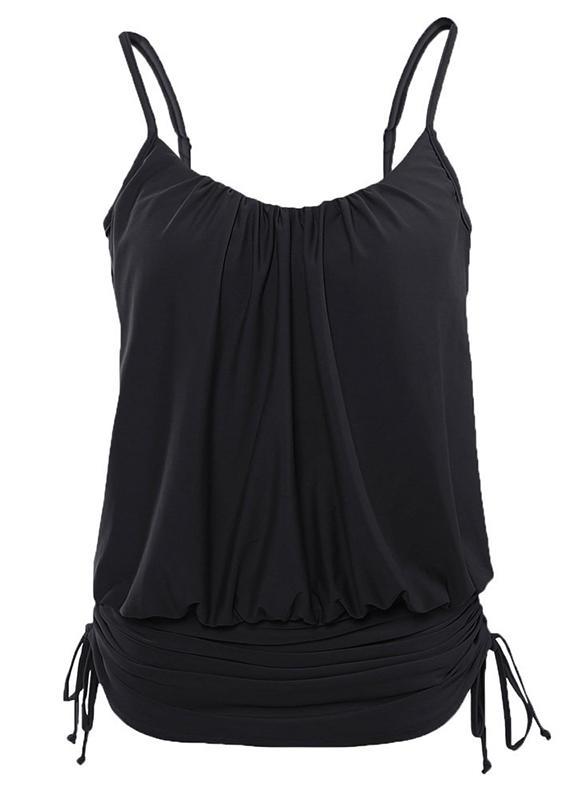 Stripe Underwire Drawstring Strap Elegant Plus Size One-piece Swimsuits