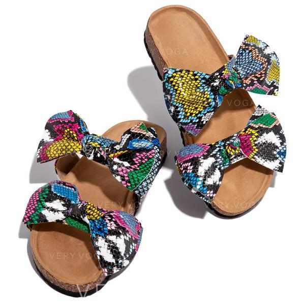 Női PU Lapos sarok Peep Toe Papucs -Val Csokornyakkendő Animal Print cipő