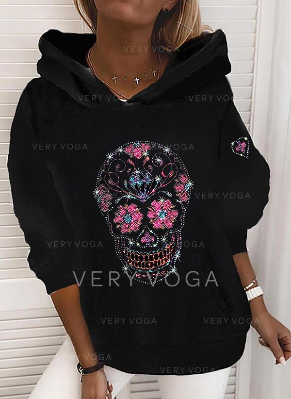 Floral Sequins Long Sleeves Hoodie