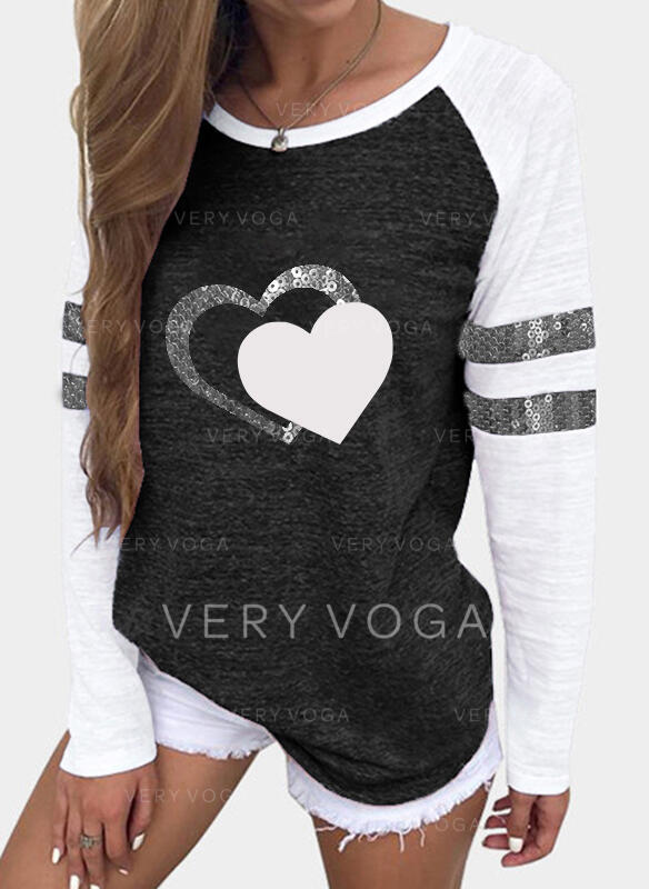 Print Color Block Sequins Heart Round Neck Long Sleeves Casual T-shirts