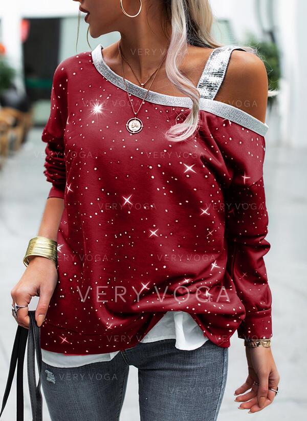 Sequins One Shoulder Long Sleeves Sweatshirt