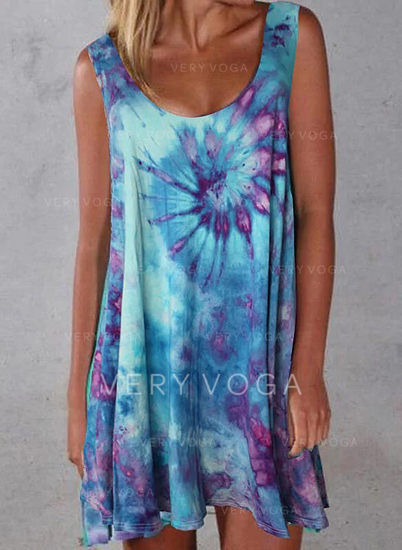 Print Sleeveless Shift Above Knee Casual/Vacation Dresses