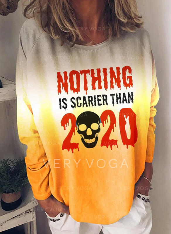 Print Figure Round Neck Long Sleeves Casual Halloween T-shirts