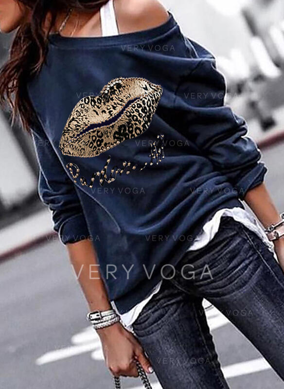Print Leopard One Shoulder Long Sleeves Sweatshirt