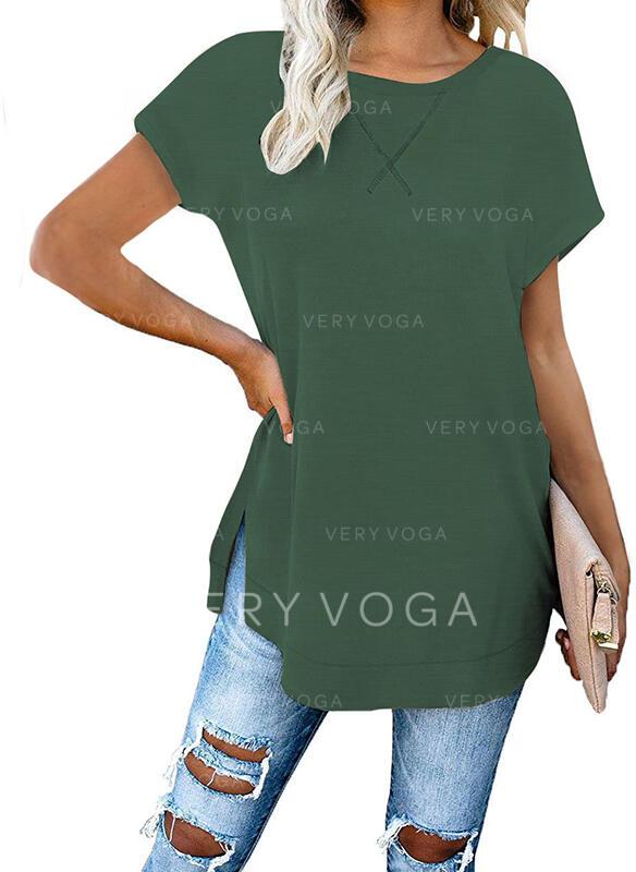 Jednolity Okrągły dekolt Krótkie rękawy T-shirty