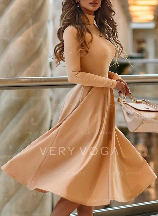 Solid Long Sleeves A-line Knee Length Elegant Skater Dresses
