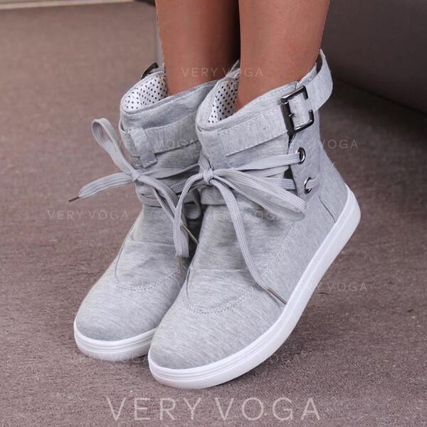 Vrouwen PU Flat Heel Enkel Laarzen Ronde neus met Vastrijgen Effen kleur schoenen
