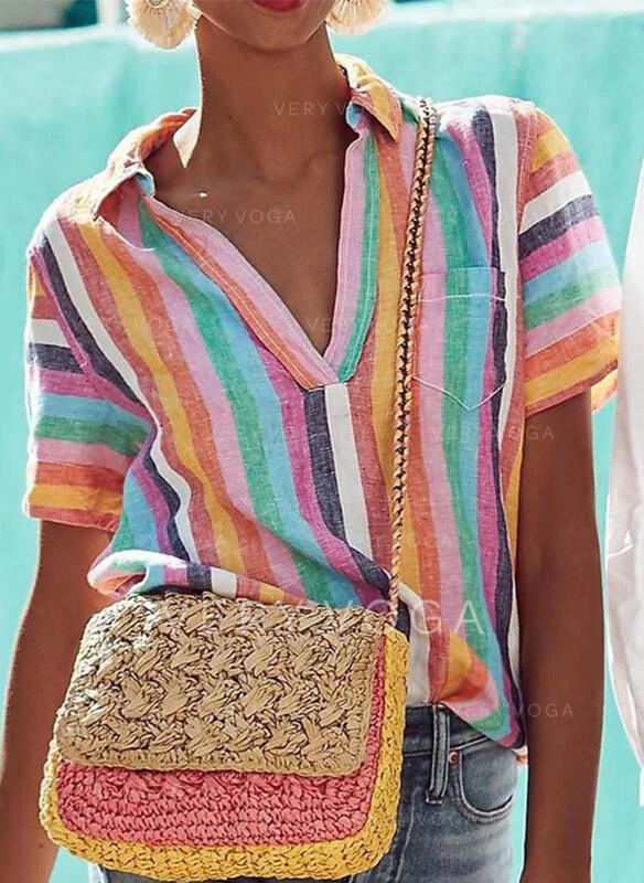 Striped Lapel Short Sleeves Casual Blouses