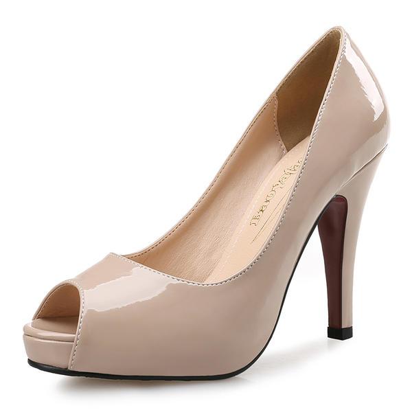 a5ad18255907ab Femmes Cuir verni Talon stiletto Sandales Escarpins Plateforme À bout  ouvert chaussures