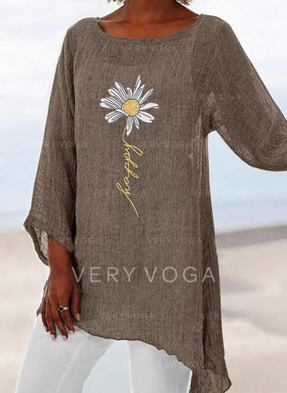 Подсолнечное принт Шею Длинные рукова Повседневная Блузы
