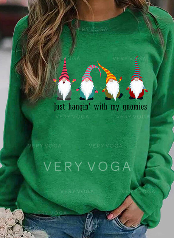 Print Striped Figure Round Neck Long Sleeves Christmas Sweatshirt
