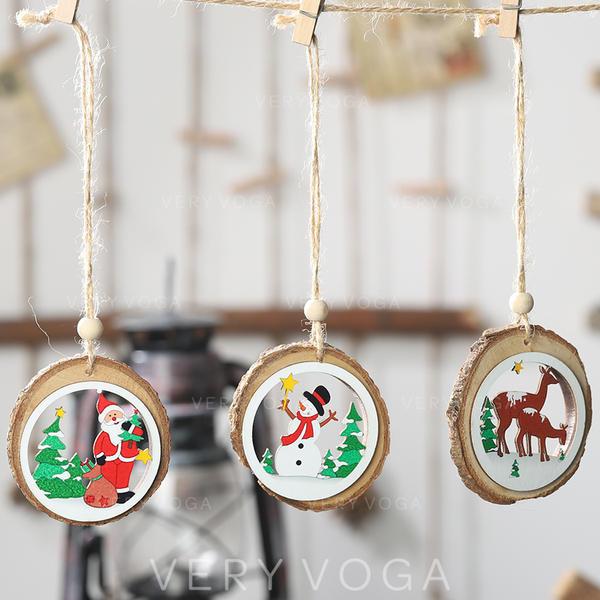 Snögubbe Ren Santa Christmas Hängande Juldekor Trä Julhänge Trädhängande ornament