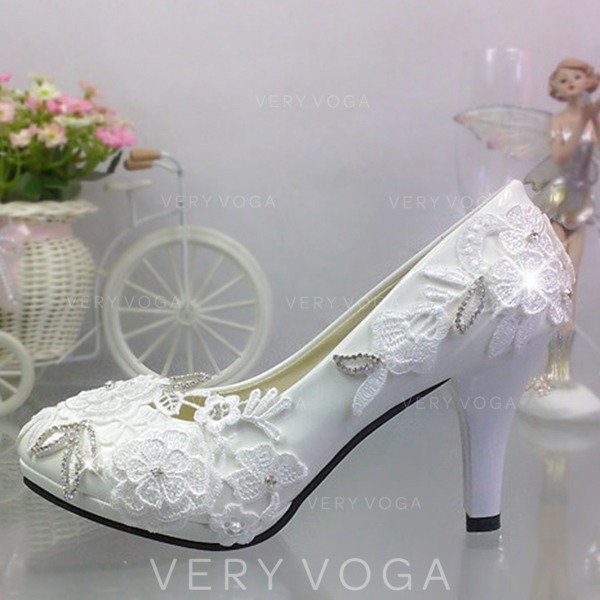 d7ccc3c125d Women s Patent Leather Stiletto Heel Closed Toe Pumps With Rhinestone  Stitching Lace Applique