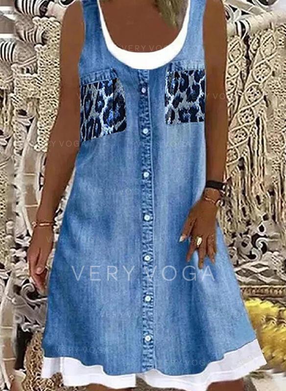 Print/Leopard Sleeveless Shift Knee Length Casual/Denim Tank Dresses