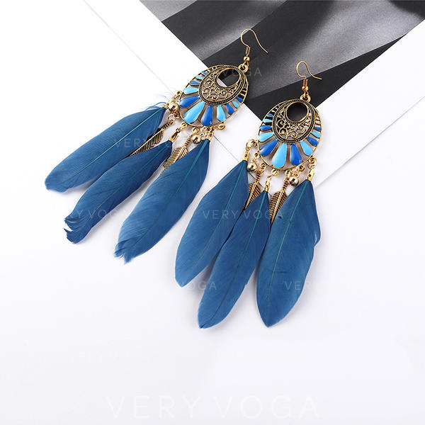 Exotic Vintage Alloy Resin Feather Women's Earrings