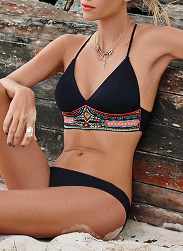 Underwire Lav midje Print Halterneck Sexy Pluss størrelse Bikinier Badedrakter