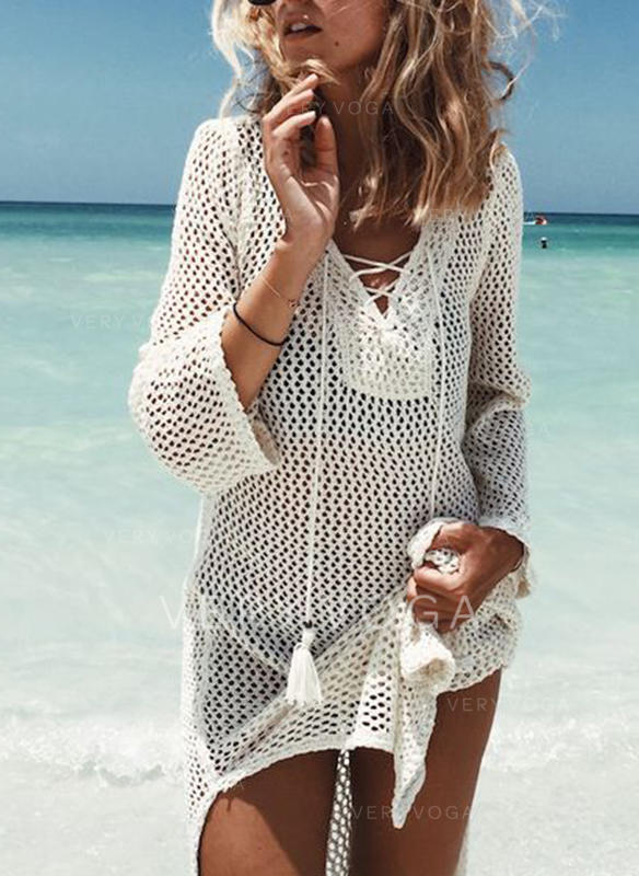 Solid 3/4 Sleeves Shift Knee Length Casual/Vacation Dresses