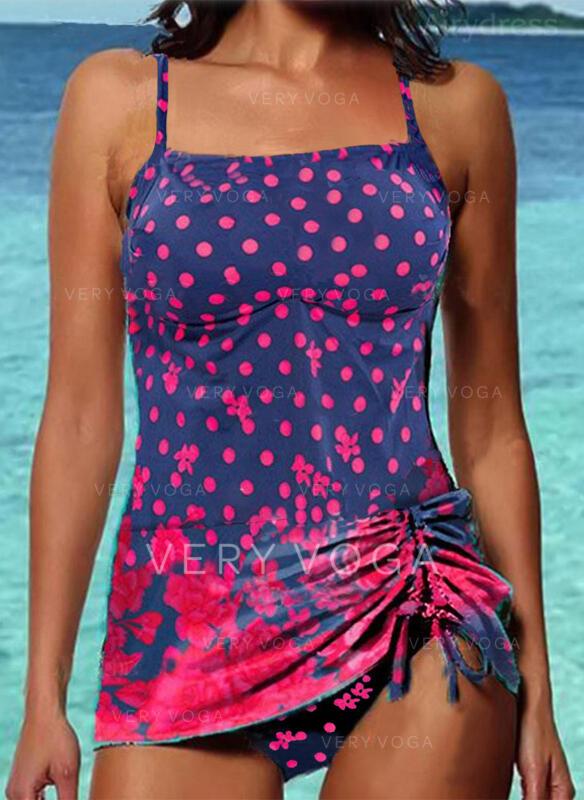 Floral Dot Print Strap U-Neck Sexy Vintage Tankinis Swimsuits