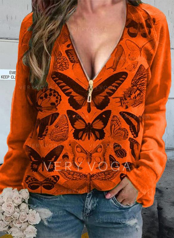 Trykk Butterfly V-hals Lange ermer T-skjorter