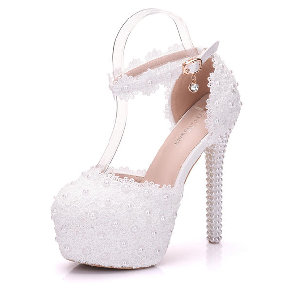 Women's Leatherette Stiletto Heel Closed Toe Platform Pumps Sandals MaryJane With Buckle Imitation Pearl Rhinestone Applique
