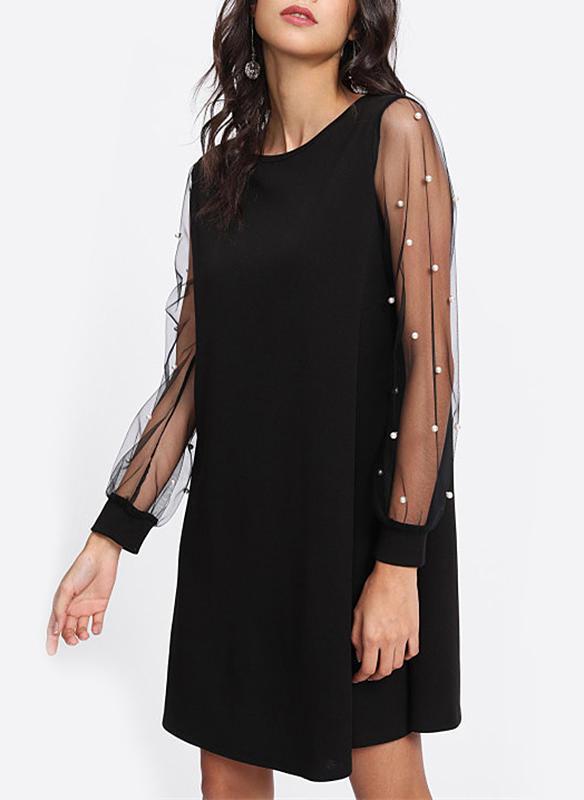 Solid Long Sleeves Shift Above Knee Vintage/Little Black/Casual Dresses