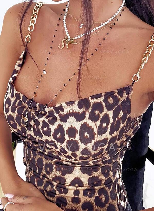 леопард Спагетти Ремень безрукавный сексуальный Tank Tops