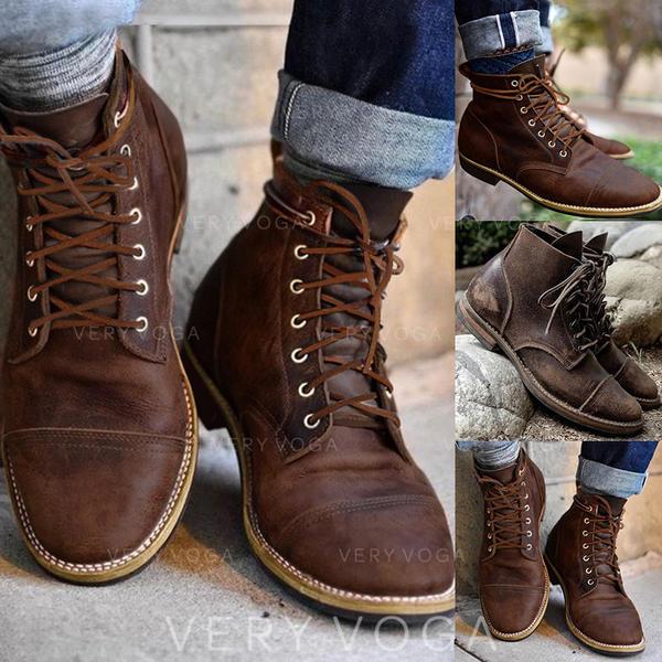Vrouwen PU Low Heel Laarzen met Vastrijgen schoenen