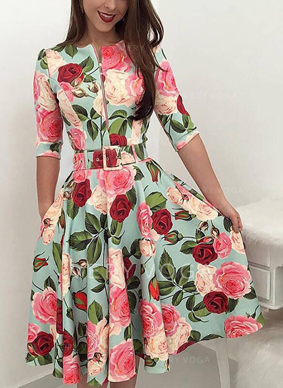 Floral 1/2 Sleeves A-line Casual Midi Dresses