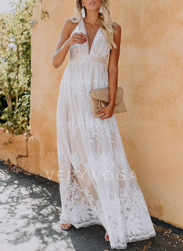 Jednolita Bez rękawów W kształcie litery A Łyżwiaż Elegancki Maxi Sukienki