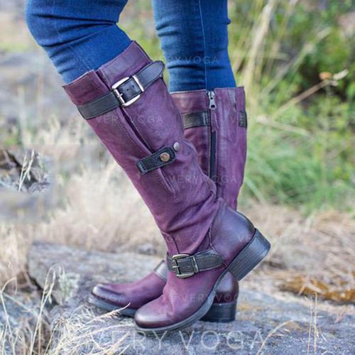 Vrouwen PU Low Heel Laarzen met Gesp Rits schoenen