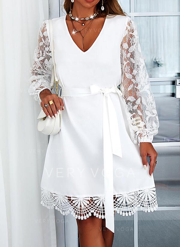 Solid Blonder Lange ermer A-line kjole Overknee Avslappet Skater Kjoler