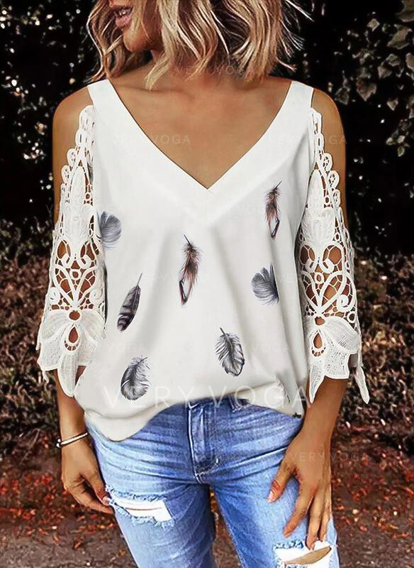 Print Feather Lace Cold Shoulder 3/4 Sleeves Elegant Blouses