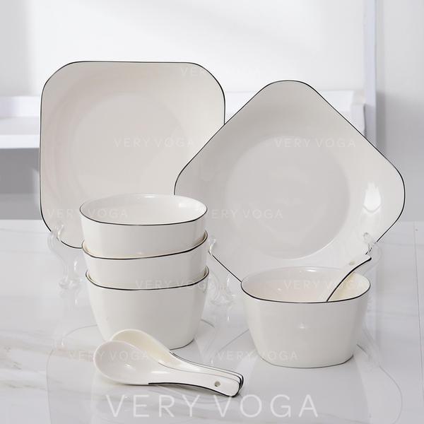 Simple Porcelain Dinnerware Sets (Set of 10)