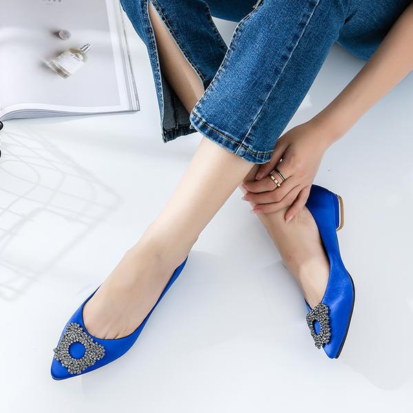 8f01d60a523 Women s Satin Flat Heel Flats Closed Toe With Rhinestone shoes ...