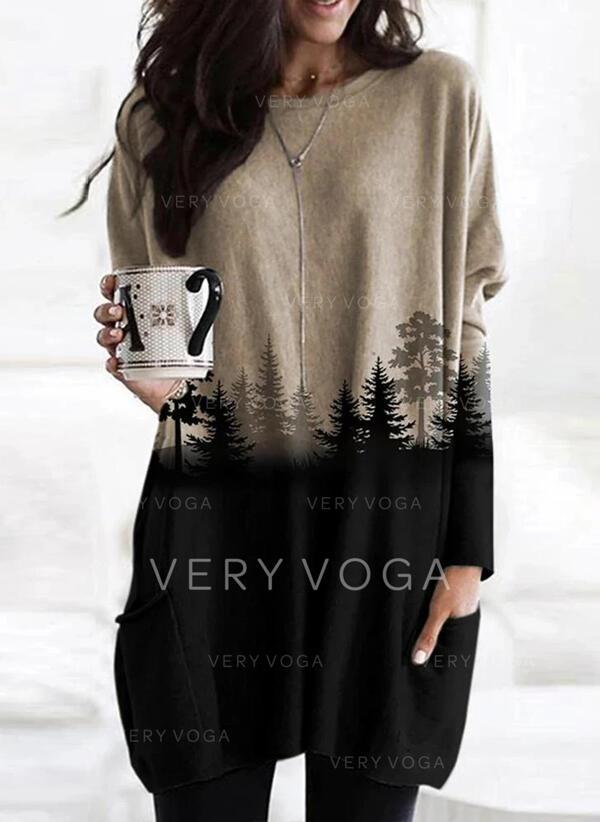Print Color Block Skov rund hals Lange ærmer Sweatshirts