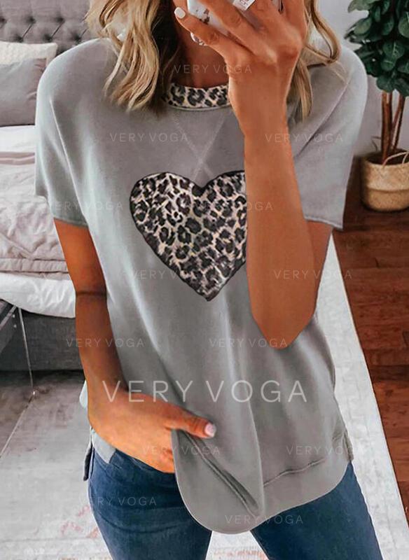 Leopardo Corazón Impresión Cuello Redondo Manga Corta Camisetas
