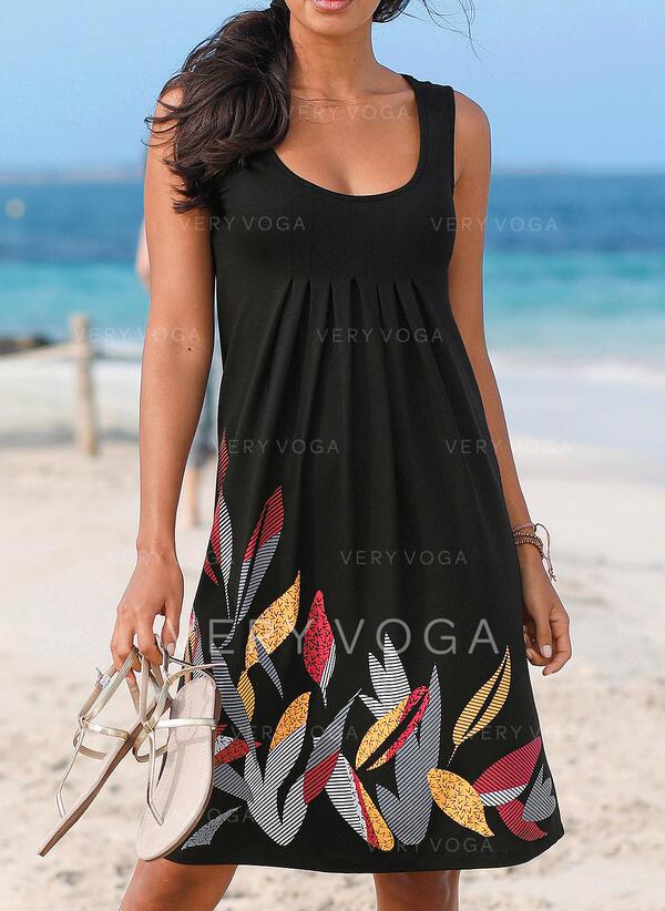 Impresión Sin mangas Tendencia Sobre la Rodilla Casual/Vacaciones Vestidos