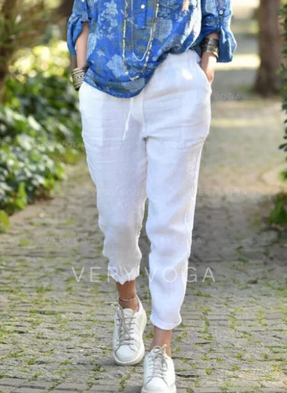 Solid Cropped Casual Plus Size Pocket Shirred Pants Lounge Pants
