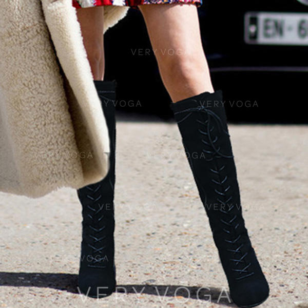 Women's PU Chunky Heel Boots Knee High Boots With Lace-up shoes