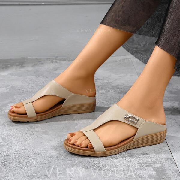 Mulheres PU Plataforma Sandálias Calços Peep toe Chinelos com Oca-out sapatos
