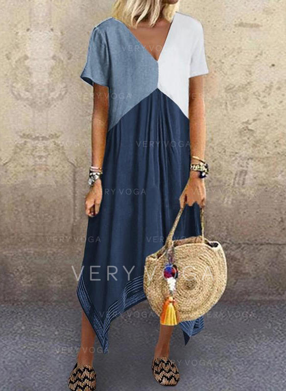 Color Block Short Sleeves Shift Casual Midi Dresses