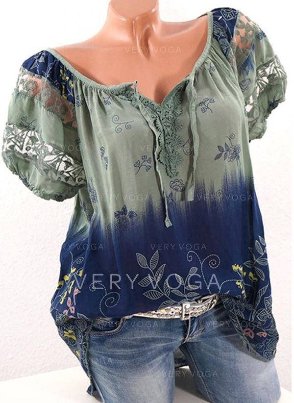 Print Boothals Korte Mouwen Casual Blouses