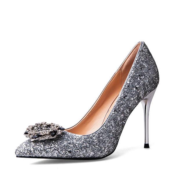 820ef0c8e6d5af Vrouwen Sprankelende Glitter Stiletto Heel Pumps Closed Toe met Gesp  schoenen