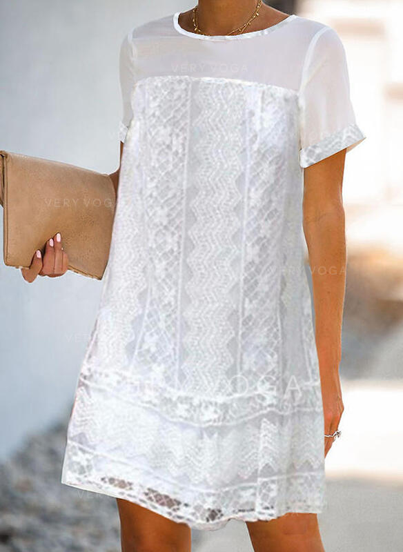 Lace/Solid Short Sleeves Shift Above Knee Casual/Elegant Tunic Dresses
