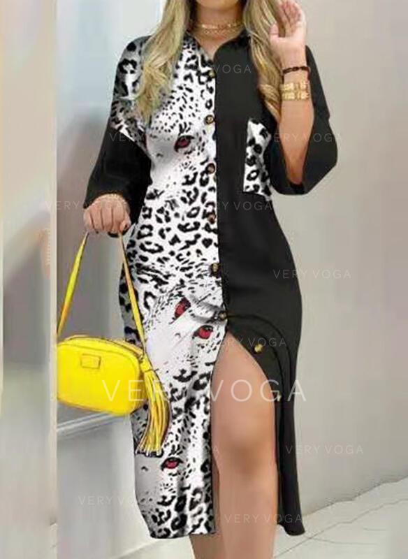 Print/Leopard 3/4 Sleeves Sheath Knee Length Casual Shirt Dresses