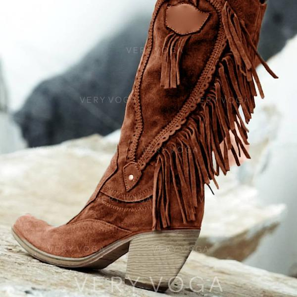 Women's PU Chunky Heel Mid-Calf Boots With Tassel Split Joint shoes
